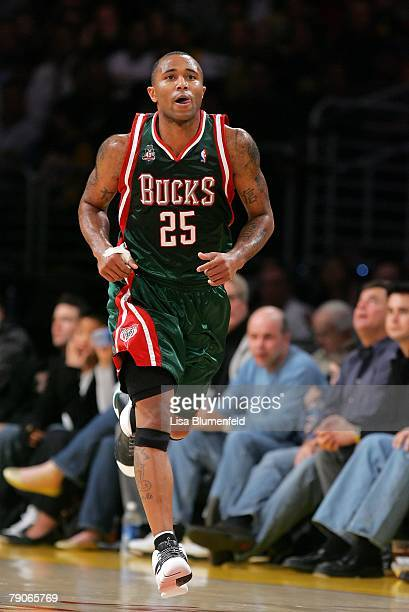 Mo Williams of the Milwaukee Bucks runs upcourt during the game against the Los Angeles Lakers at Staples Center on January 11 2008 in Los Angeles...