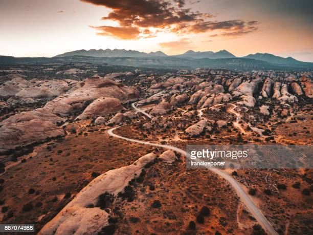 moab aerial view at dusk - extreme terrain stock pictures, royalty-free photos & images