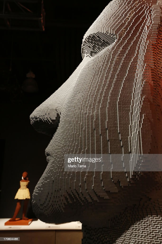 'Moai,' a Nathan Sawaya sculpture, is displayed in the 'Art of the Brick' show at Discovery Times Square on June 18, 2013 in New York City. Sawaya created the pieces entirely with LEGO toy bricks and the exhibition features over 100 works of art created from millions of the toy bricks.