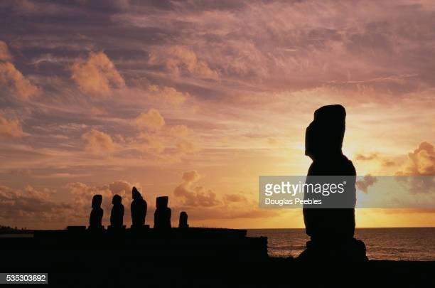 Moai at Ahu Tahai Archeological Site at Sunset