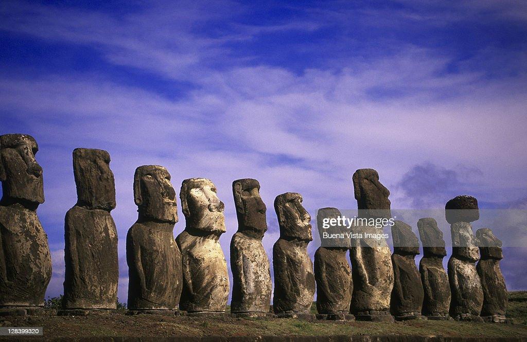 Moai Statues Of Ahu Tongariki - Easter Island, Chile Stock
