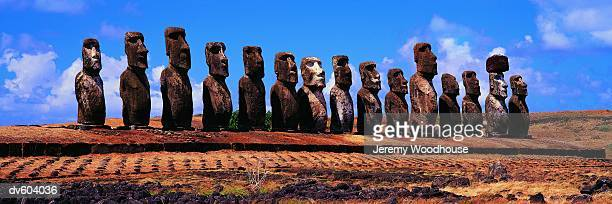 moai at ahu tongariki, easter island (rapa nui), chile - jeremy woodhouse stock photos and pictures