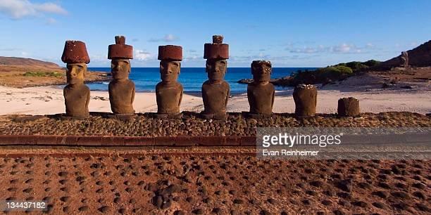 Moai of Ahu Nau Nau at Anakena beach Easter Island