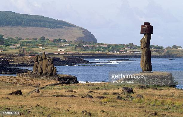 Moai of Ahu Tahai with the monolith of Ahu Ko Te Riku right Rapa Nui National Park Easter Island Chile Polynesian Civilisation