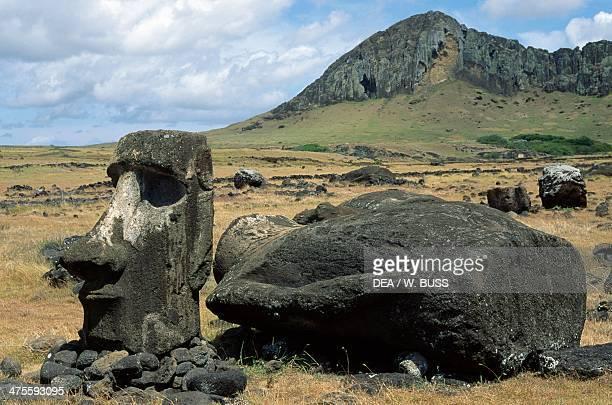 Moai of Ahu Tongariki near Rano Raraku Volcano Rapa Nui National Park Easter Island Chile Polynesian Civilisation