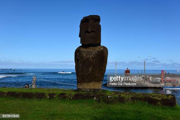 Moai statue at harbor of Hanga Roa in Easter Island of Chile
