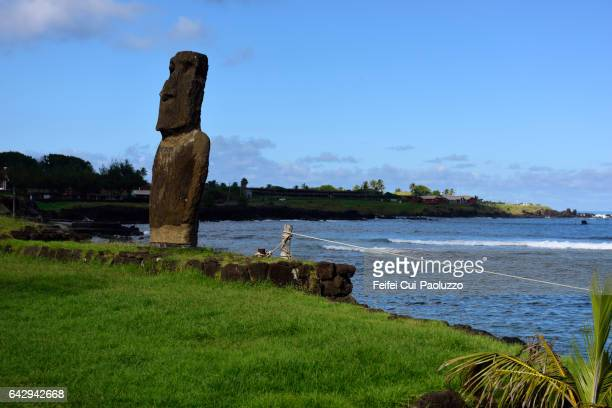 Moai statue at harbor of Hanga Roa in Easter Island of Chile