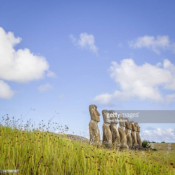 moai statues at ahu akivi, easter island. - ancient civilisation stock pictures, royalty-free photos & images