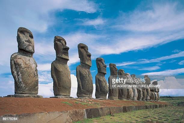 Moai statues in a row Ahu Tongariki Easter Island Chile