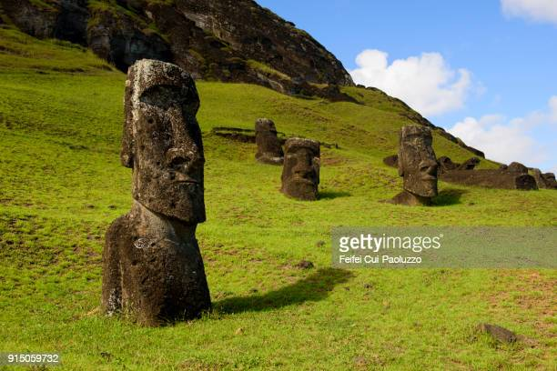 moai statues in rano raraku - antiquities stock pictures, royalty-free photos & images