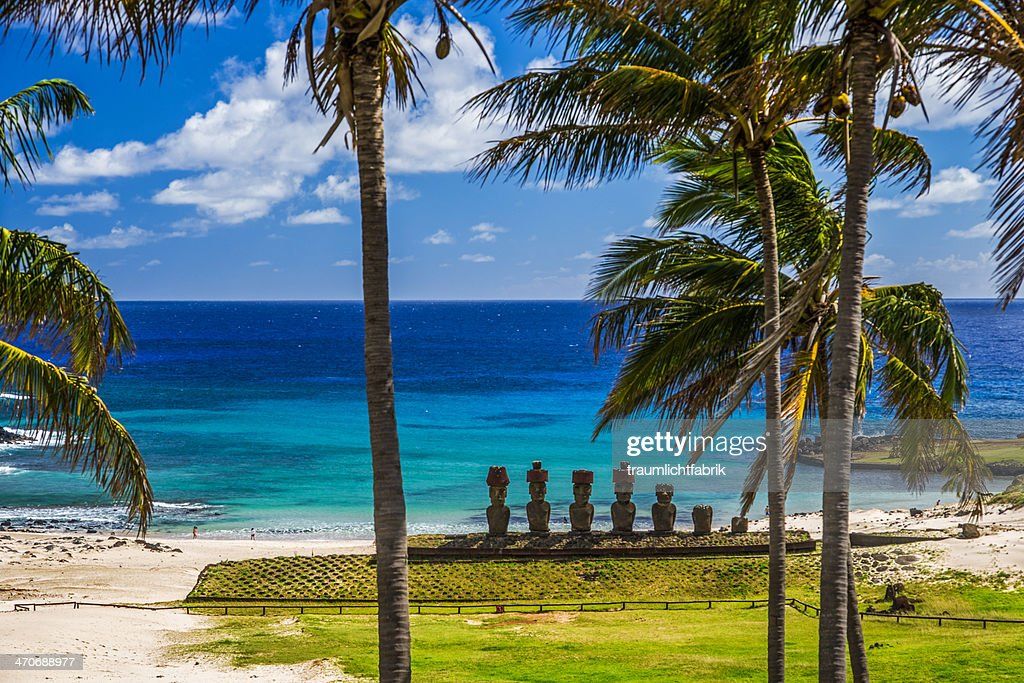 Moai statues on Easter Island : Stock Photo