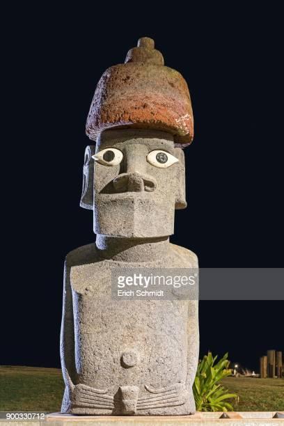 Moai, stone figure by night, Ahu Tahai complex, Hanga Roa, Easter Island, Chile
