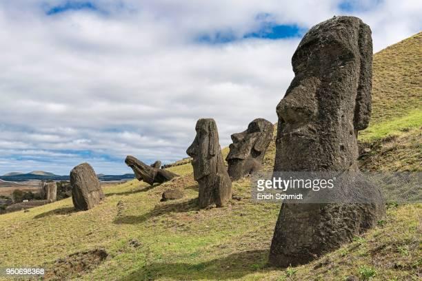 moais in rano raraku, rapa nui national park, easter island, rapa nui island, easter island, chile - rano raraku stock pictures, royalty-free photos & images