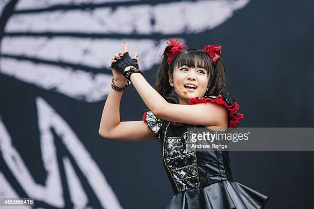 Moametal of Babymetal performs on the main stage during day 3 of Leeds Festival at Bramham Park on August 30 2015 in Leeds England