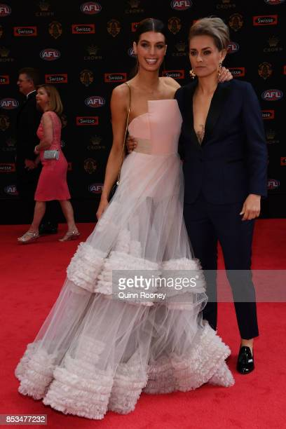 Moana Hope and partner Isabella Carlstorm arrive ahead of the 2017 Brownlow Medal at Crown Entertainment Complex on September 25 2017 in Melbourne...