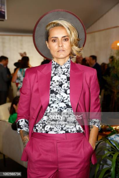 Moana Hope attends 2018 Caulfield Cup Day at Caulfield Racecourse on October 20 2018 in Melbourne Australia