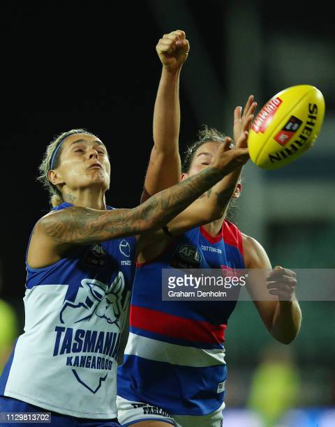 Moana Hope of the Kangaroos in action during the round three AFLW match between the North Melbourne Kangaroos and the Western Bulldogs at the...