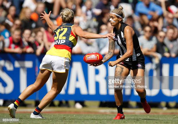 Moana Hope of the Magpies and Marijana Rajcic of the Crows compete for the ball during the 2018 AFLW Round 07 match between the Collingwood Magpies...