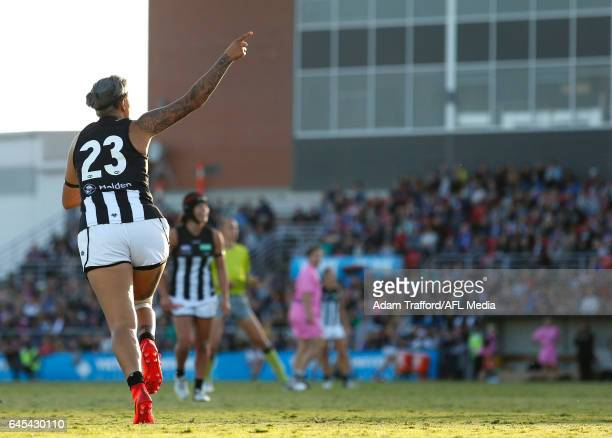 Moana Hope of the Magpies celebrates a goal during the 2017 AFLW Round 04 match between the Western Bulldogs and Collingwood Magpies at VU Whitten...