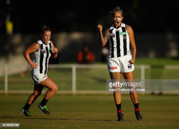 Moana Hope of the Magpies celebrates a goal during the 2018 AFLW Round 04 match between the Melbourne Demons and the Collingwood Magpies at TIO...