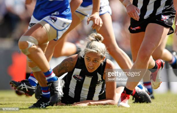 Moana Hope of the Magpies falls to the ground during the round five AFLW match between the Collingwood Magpies and the Western Bulldogs at Ted...
