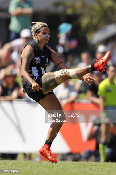 Moana Hope of the Magpies kicks for goal during the round six AFL Women's match between the Collingwood Magpies and the Greater Western Sydney Giants...