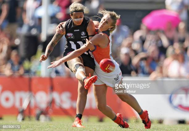 Moana Hope of the Magpies kicks the ball during the round six AFL Women's match between the Collingwood Magpies and the Greater Western Sydney Giants...