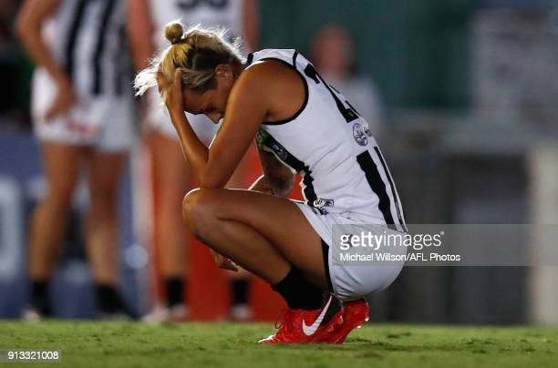 Moana Hope of the Magpies looks dejected after a loss during the 2018 AFLW Round 01 match between the Carlton Blues and the Collingwood Magpies at...