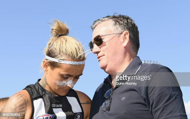Moana Hope of the Magpies speaks to Eddie McGuire the president of the Magpies during the round seven AFLW match between the Collingwood Magpies and...