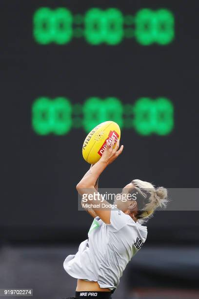 Moana Hope of the Magpies warms up during the round three AFLW match between the Collingwood Magpies and the Greater Western Sydney Giants at Olympic...