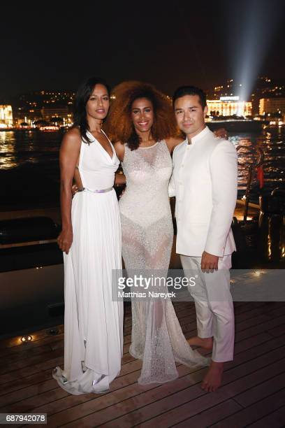 Moana Luu and David Luu attend the Generous People 5th Anniversary Party during the 70th annual Cannes Film Festival at Martinez Pier on May 24 2017...