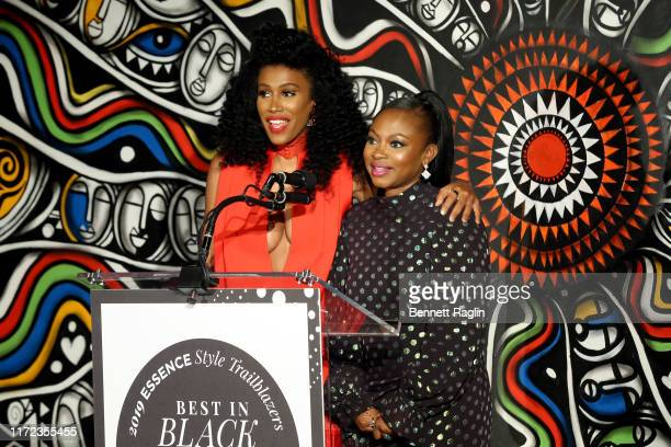 Moana Luu and Naturi Naughton speak during the ESSENCE Best In Black Fashion Awards at Affirmation Arts on September 04 2019 in New York City