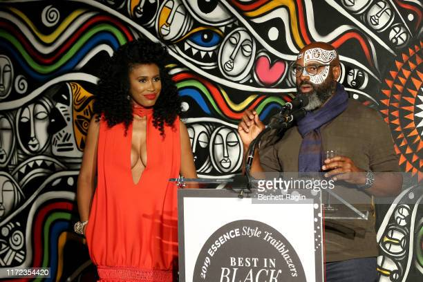 Moana Luu and Richelieu Dennis speak during the ESSENCE Best In Black Fashion Awards at Affirmation Arts on September 04 2019 in New York City