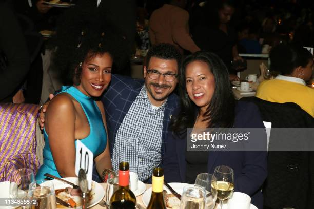 MoAnA Luu Dr Steve Perry and Michelle Ebanks attend the 2019 National Action Network Keepers Of The Dream Awards at the Sheraton Times Square on...