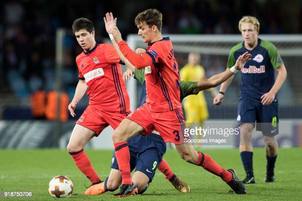 Moanes Dabour of Red Bull Salzburg Diego Llorente of Real Sociedad during the UEFA Europa League match between Real Sociedad v Salzburg at the...