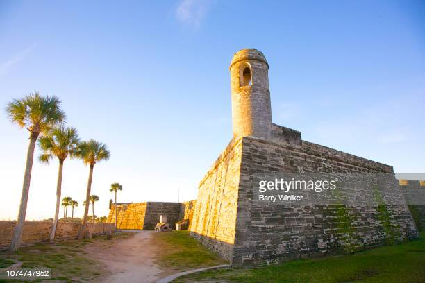 moat at fortress in st. augustine - castillo de san marcos stock photos and pictures