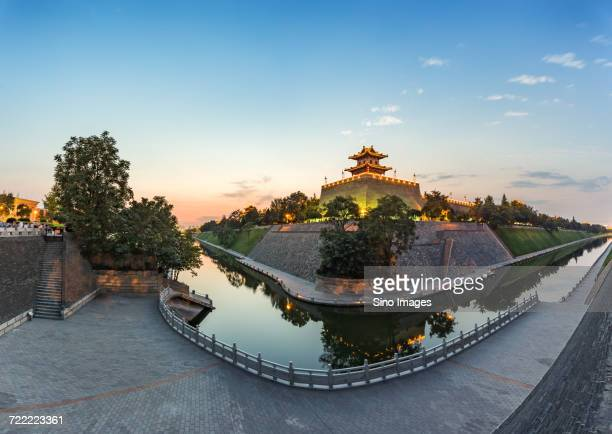 Moat, fortifications and corner tower, Xian, Shanxi, China