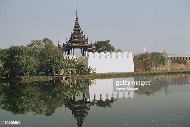 A moat gate into the grounds of Mandalay Palace in Mandalay Burma 1972