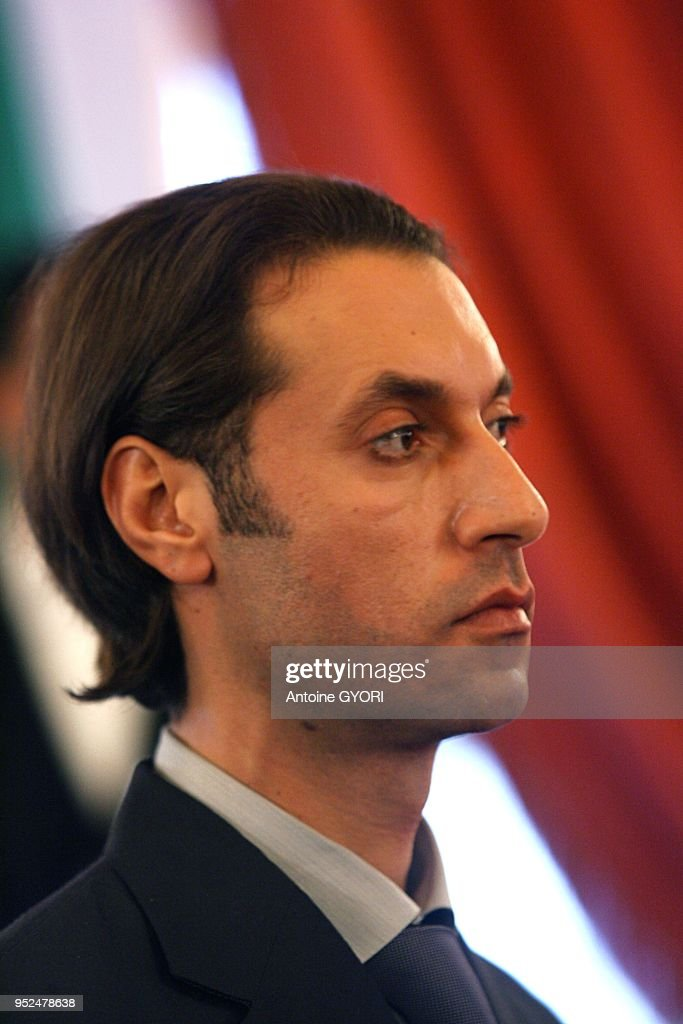 Muammar Kadhafi Meets The President Of The National Assembly Bernard