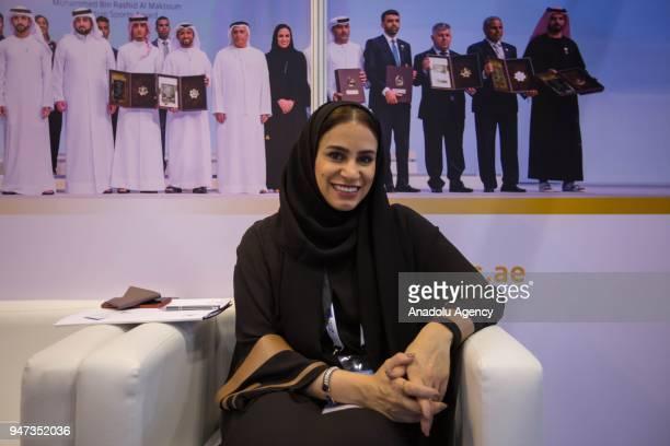 Moaza Al Marri Secretery General of the Mohammed Bin Rashid Al Maktoum Award seen speaking during an exclusive interview for Anadolu Agency at the...