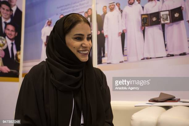 Moaza Al Marri Secretery General of the Mohammed Bin Rashid Al Maktoum Award seen speaking during an exclusive interview for Anadolu Agency at the...