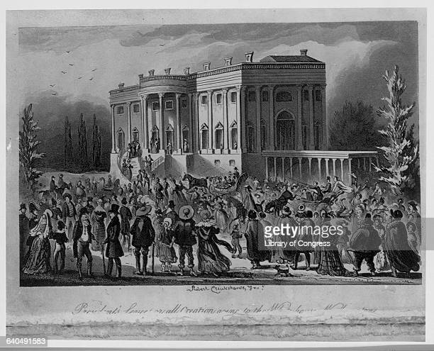 A mob gathers outside the White House during Andrew Jackson's first inaugural reception 1828