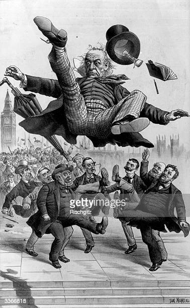A mob kicking British prime minister William Ewart Gladstone in the air over the Home Rule Bill in a cartoon called 'Away With Him' accompanied by...