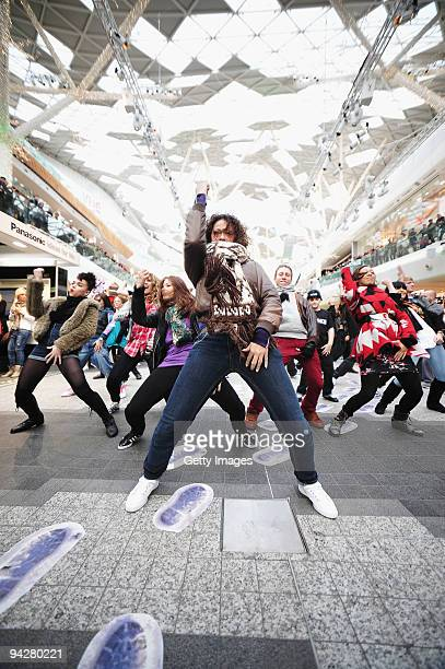 A mob of dancers including Street Dance group 'Diversity' give shoppers an early Christmas present with an impromptu performance as part of a 'Flash...