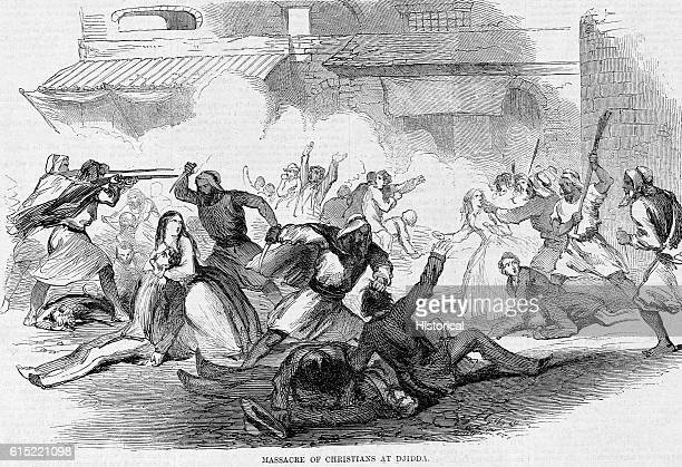 Mob of Islamic Arabs murdering the English and French consuls and nineteen other Christians on June 15 in Jidda.