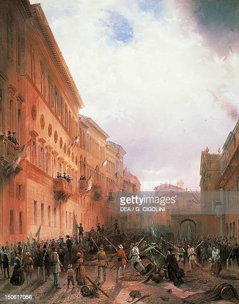 Mob riot in Milan against Carlo Alberto beneath the balcony of Palace Greppi First war of independence Italy 19th century