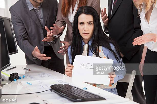 mobbing at work - help me sign - anti bullying symbols stock pictures, royalty-free photos & images
