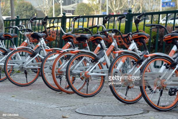 Mobike bicycles parked in Pudong, Shanghai, China