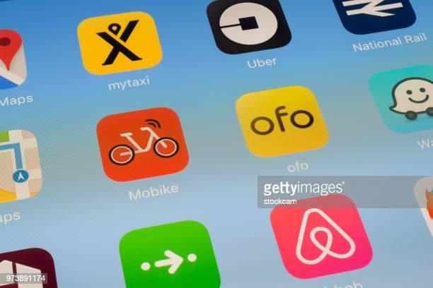 MOBIKE, Ofo und andere Reise Apps auf dem iPad-Bildschirm