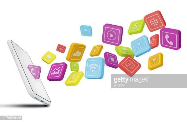 icone delle applicazioni mobili che escono da un telefono cellulare - applicazione mobile foto e immagini stock